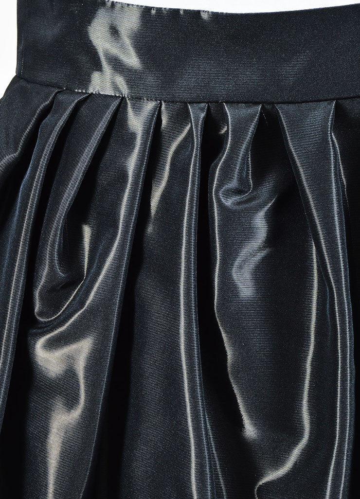 Grey Christian Dior Taffeta Pleated Bubble Mini Wrap Skirt Detail