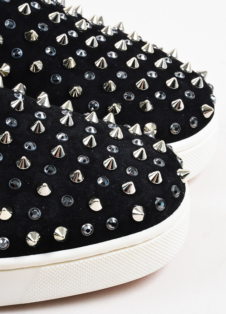 "Christian Louboutin Black Suede Spike ""Roller"" Slip On Sneakers Detail"