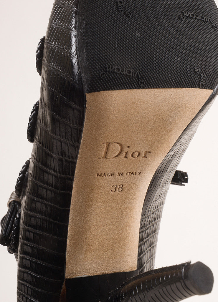"Christian Dior New In Box Black Lizard Embossed Persian ""Comma"" Heels Brand"