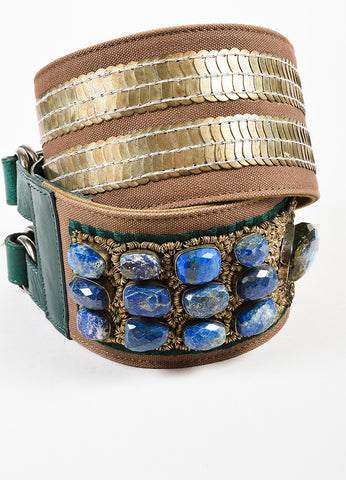 Dries Van Noten Brown and Green Canvas Leather Mixed Metal Stone Waist Belt Sideview