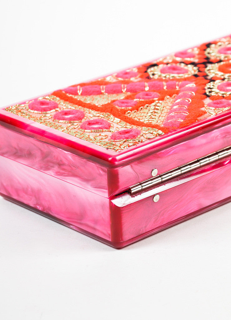 Edie Parker Pink, Gold, and Red Acrylic Embroidered Marble Mirrored Box Clutch Bag Detail