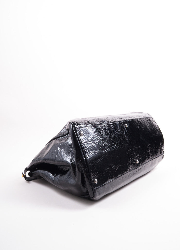 "Fendi Black Patent Leather Wrinkled ""Peekaboo"" Satchel Bag Bottom View"