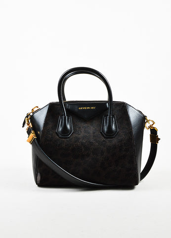 "Givenchy Brown and Black Calf Hair Leather Leopard Print ""Antigona"" Satchel Bag Frontview"