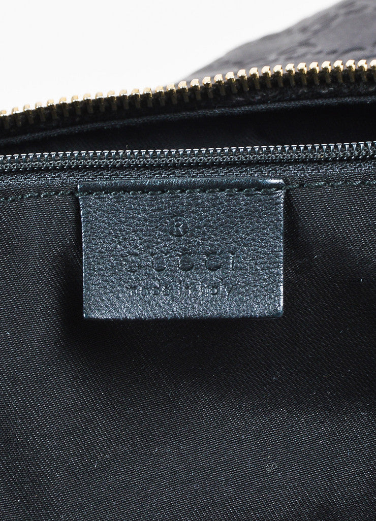 "Gucci Black Leather Logo Embossed ""Guccissima"" Hobo Bag Brand"