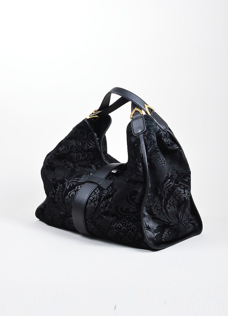 "Black Gucci Leather Paisley Burnout Dual Handle Carryall ""Stirrup"" Bag Sideview"