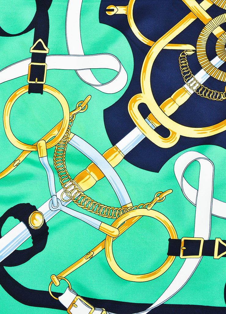 "Hermes Green, Navy, and Yellow Silk Equestrian Print ""Eperon D'Or"" Scarf Detail"