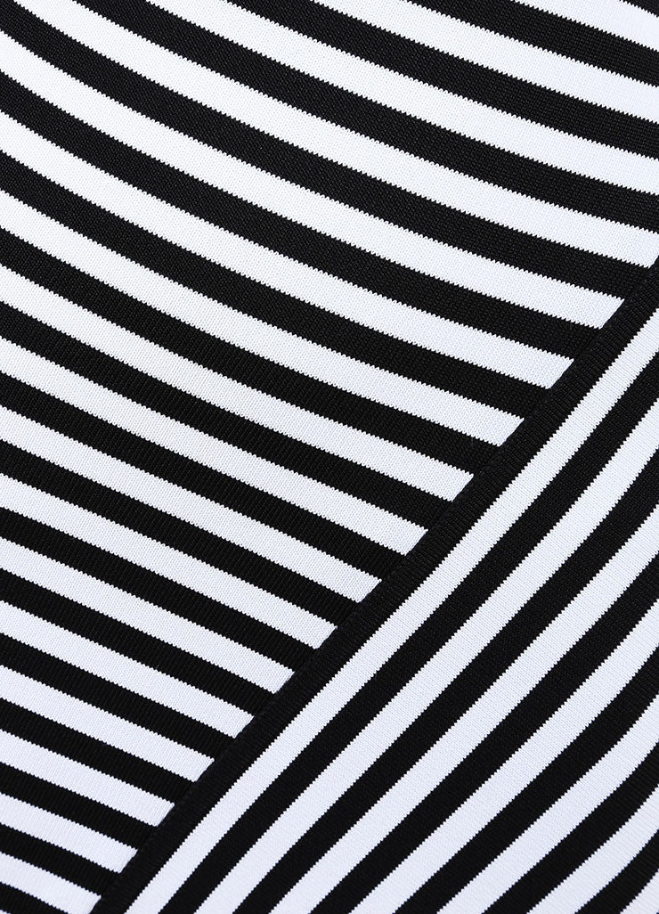 Herve Leroux New With Tags Black and White Striped Bodycon Halter Dress Detail