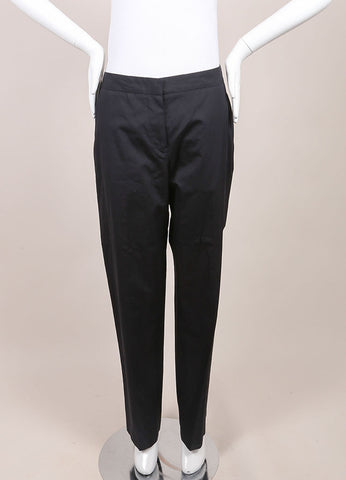 "Jil Sander New With Tags Black Poplin Straight Leg ""Ziazi"" Pants Frontview"