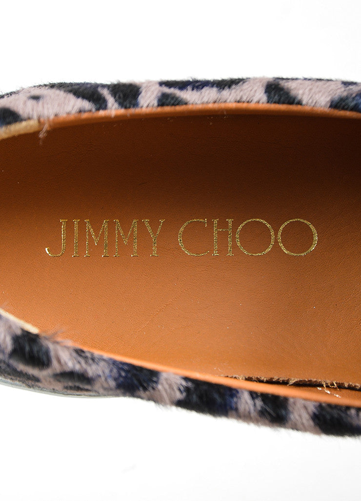 "Grey, Black, and Navy Jimmy Choo Pony Hair Leopard ""Demi"" Sneakers Brand"