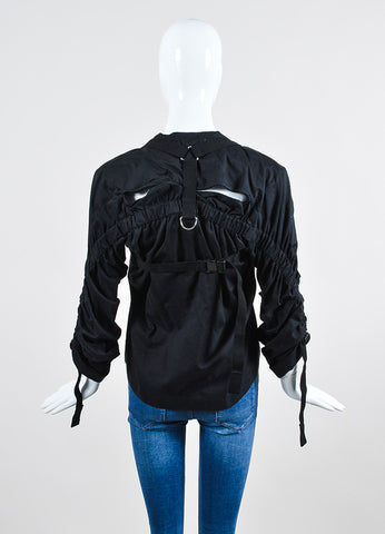 Black Junya Watanabe Comme Des Garcons Buckle Strap Ruching Shirt Backview