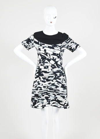Black and White Kenzo Geometric Wave Print Short Sleeve Dress Frontview
