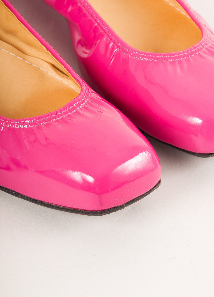 Lanvin Hot Pink Patent Leather Square Toe Ballerina Wedges Detail