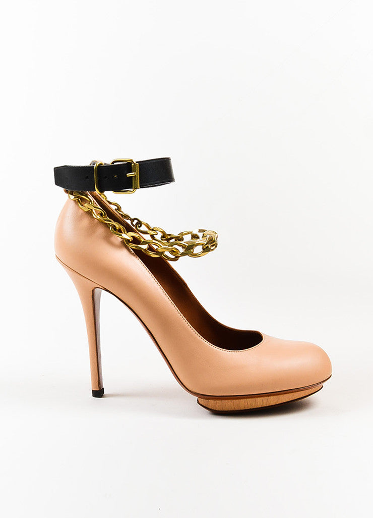 Lanvin Beige and Black Leather Gold Toned Chain Ankle Strap Pumps Sideview