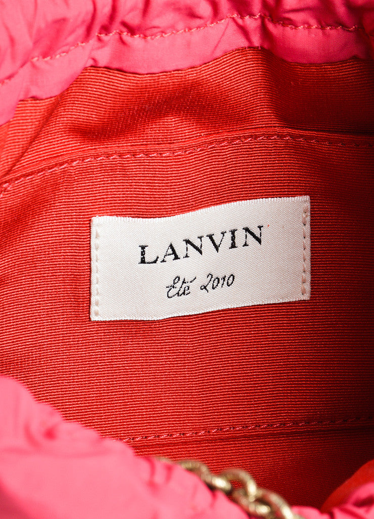 Lanvin Pink Cotton and Nylon Pompom Flower Evening Pouch Shoulder Bag Brand