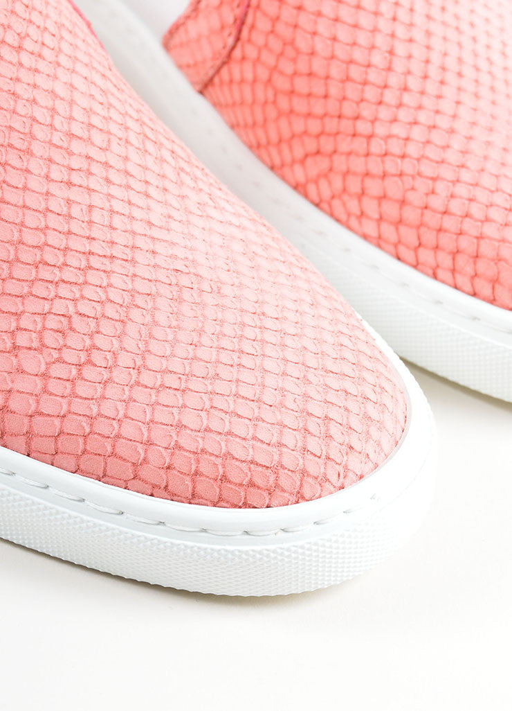"Lanvin Rose Pink Leather Reptile ""Nora"" Slip On Sneakers Detail"