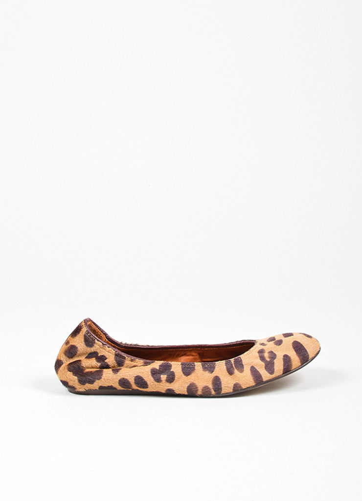 Tan and Brown Lanvin Pony Hair Leopard Round Toe Ballerina Flats Sideview