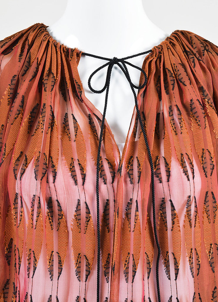 Rust Red and Black Lanvin Semi Sheer Textured Blouse Detail