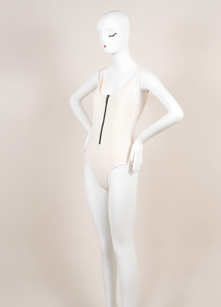 "Lisa Marie Ferndandez New With Tags Cream and Black Zip ""Jasmine"" Maillot Swimsuit Sideview"