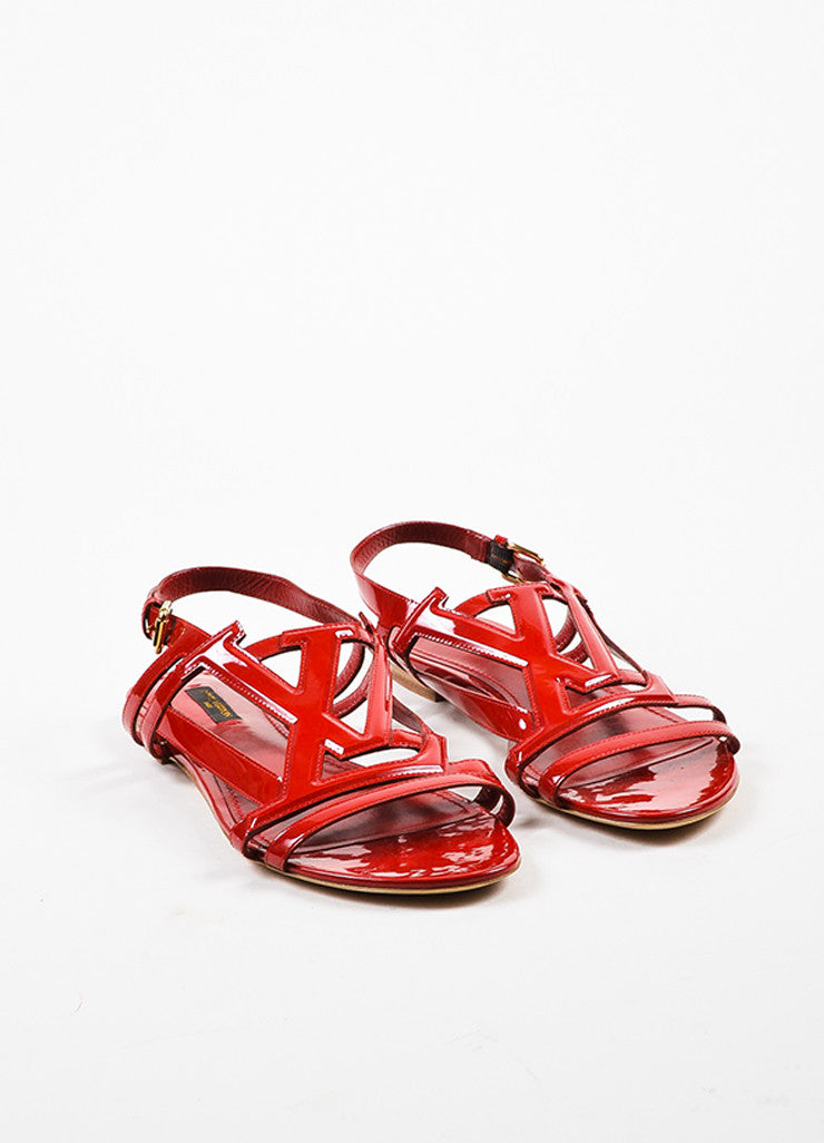 Louis Vuitton Red Patent Leather 'LV' Strappy Slingback Flat Sandals Frontview