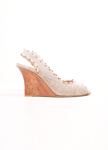 Brown and Beige Linen Cork Peep Toe Slingback Wedges