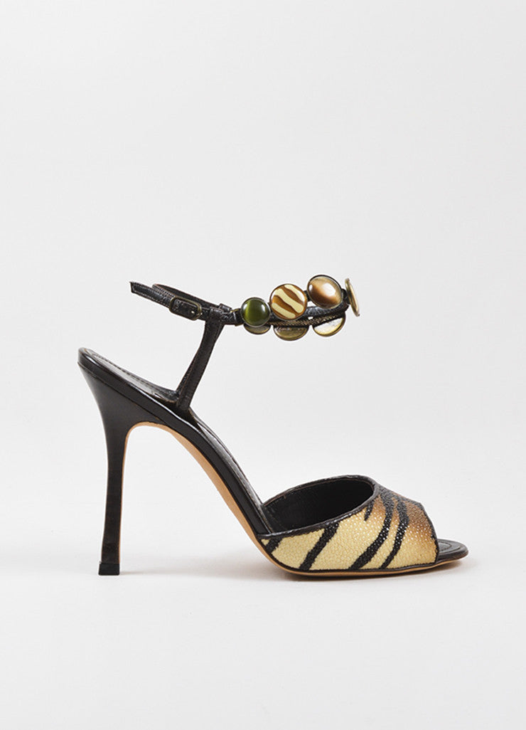 "Manolo Blahnik Tan and Brown Stingray Leather Tiger Print ""Kulupuri"" Heels Sideview"