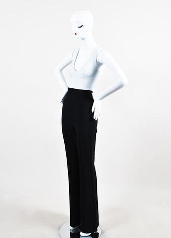 Narciso Rodriguez Pale Grey and Black Crepe Sleeveless U Neck Jumpsuit Sideview