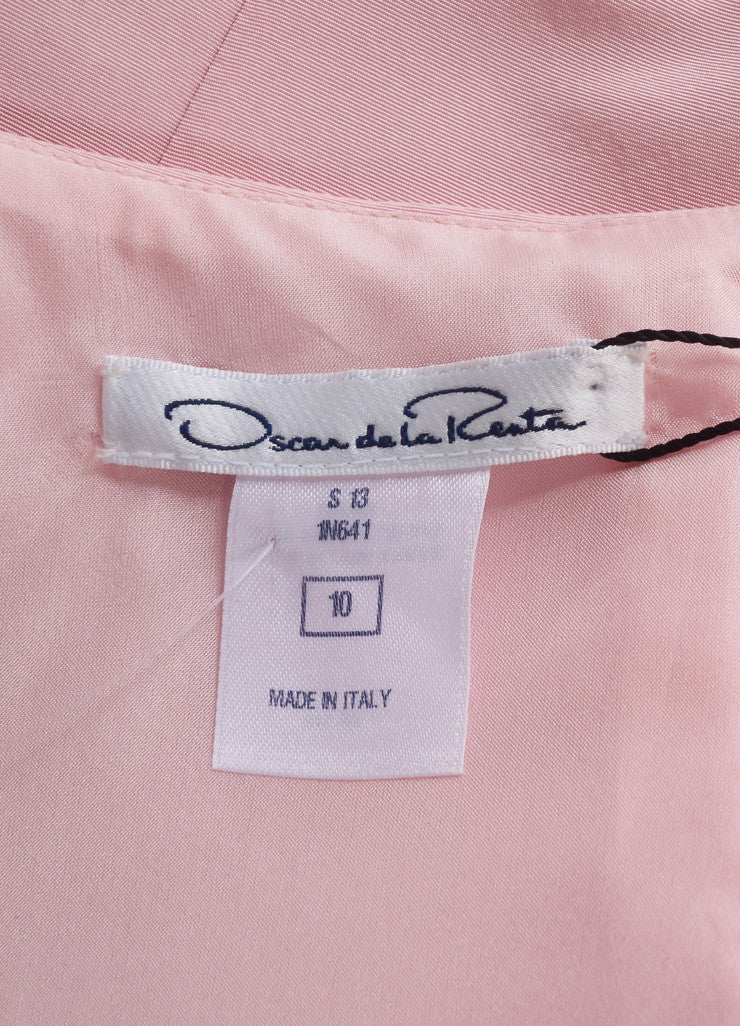 Oscar de la Renta New With Tags Pink Silk Faille Ruffle Waist Sleeveless Sheath Dress Brand