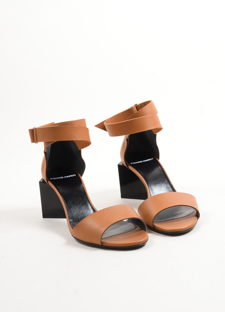 "Pierre Hardy Brown and Black Leather Block Heel ""Monolite"" Sandals Frontview"