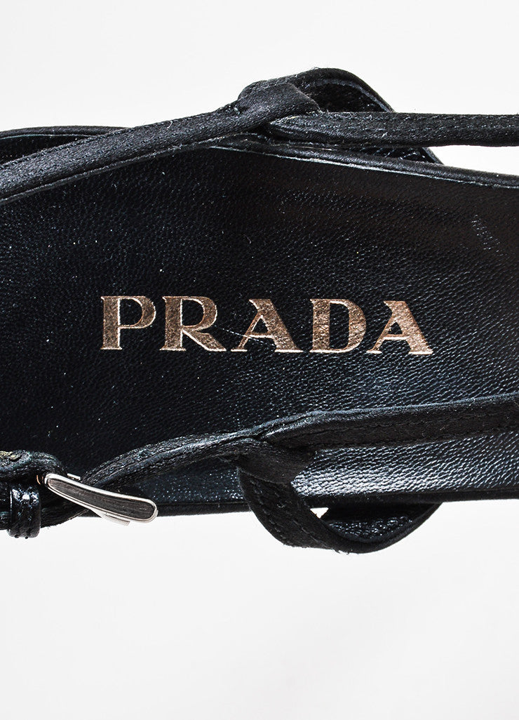 Prada Black Satin Embellished Peep Toe Clear Heel Slingbacks Brand
