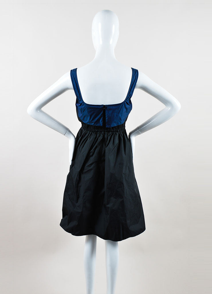 Black and Navy Color Block Proenza Schouler A-Line Sleeveless Dress Backview