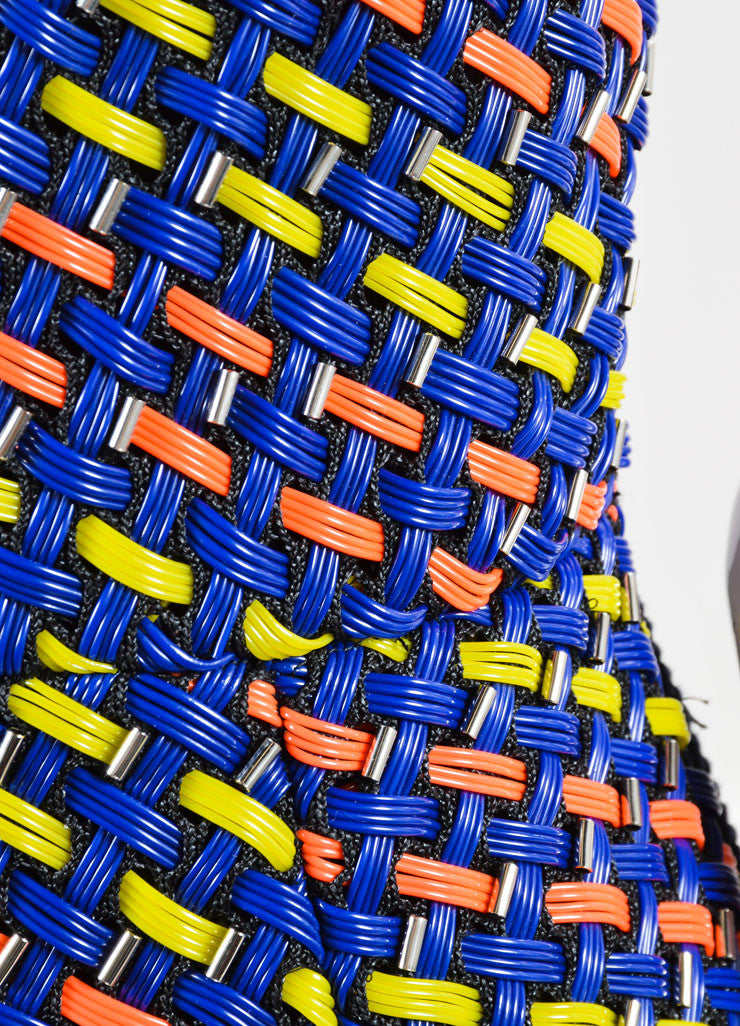 "Roksanda Blue, Yellow, and Coral Woven Plastic Mesh ""Valetta"" Dress Detail"