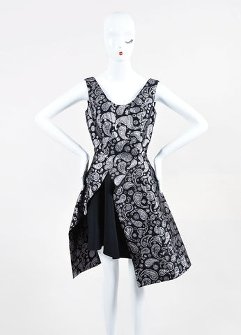 Black and Silver Stella McCartney Brocade Paisley Layered Dress Frontview