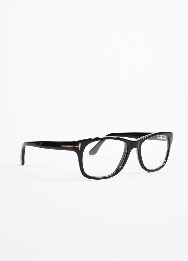 Tom Ford Black and Gold Toned Square Frame 'T' Accented Optical Eyeglasses Sideview
