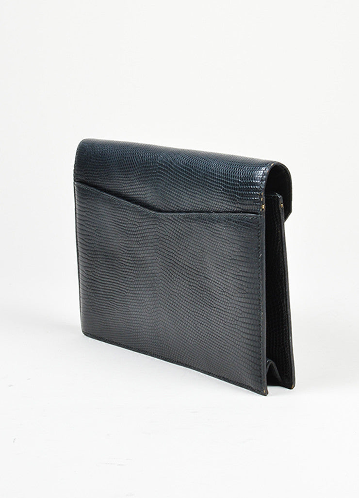 Black Hermes Lizard Leather 'H' Closure Envelope Clutch Back