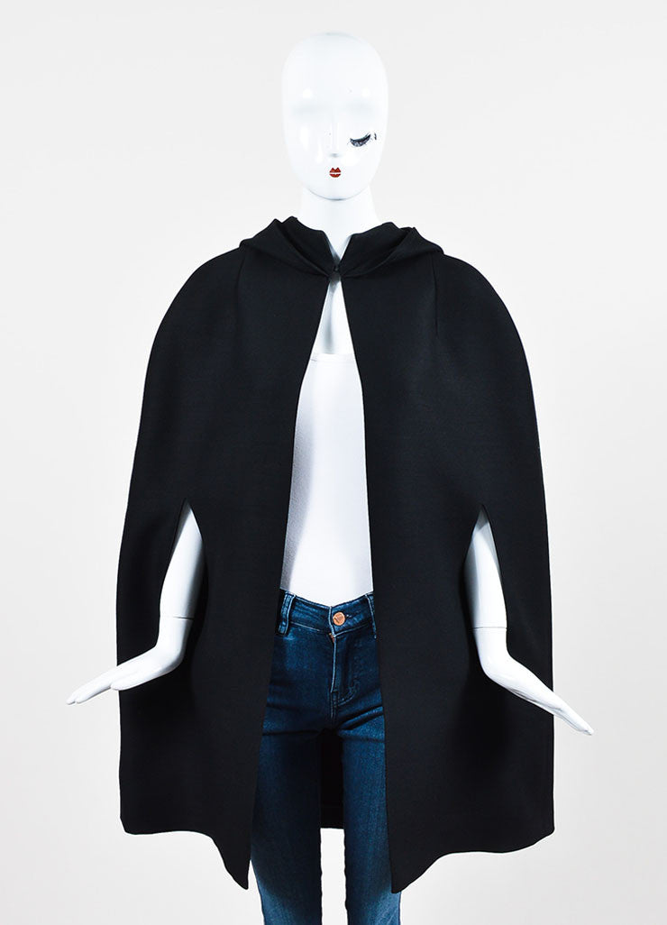 Valentino Black Wool and Silk Hooded Cape Frontview