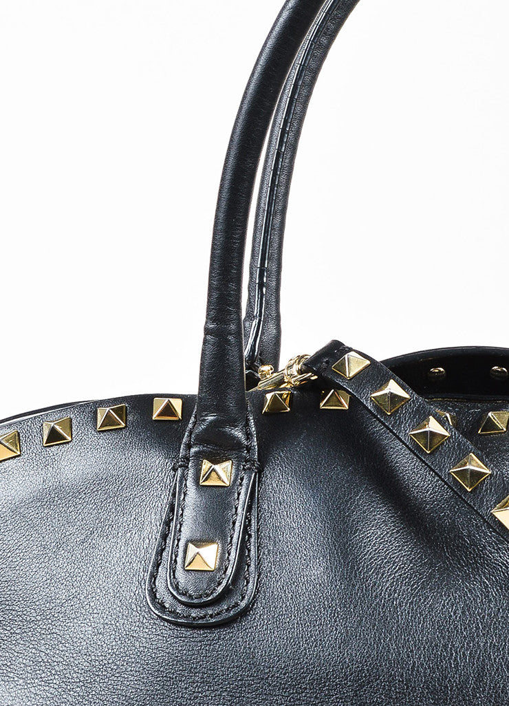 "Valentino Garavani Black and Gold Toned Leather Cross Body ""Rockstud"" Dome Satchel Bag Detail 2"