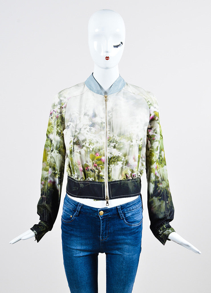 Multicolor Valentino Silk Watercolor Print Track Jacket Front