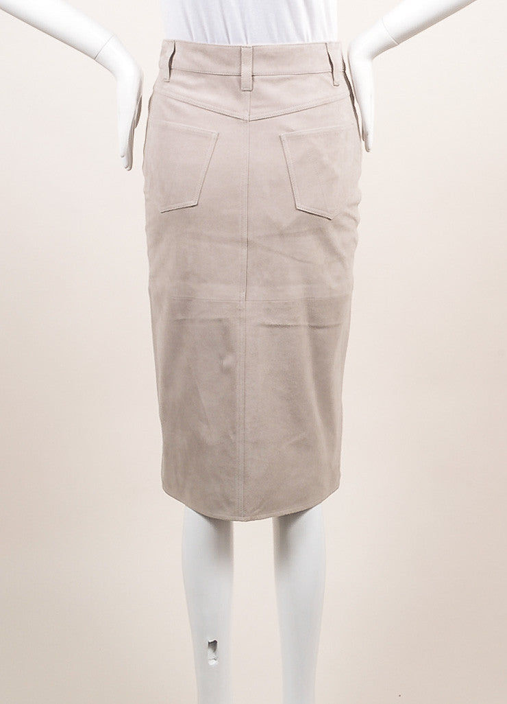 Victoria Beckham New With Tags Grey Suede Slit Pencil Skirt Backview