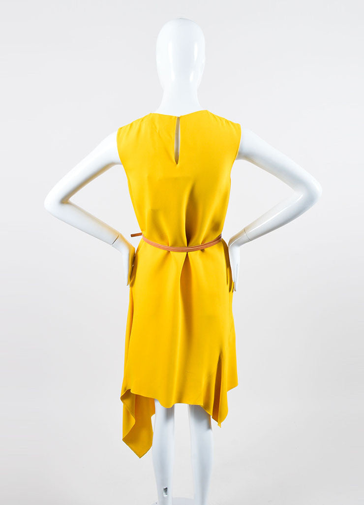Canary Yellow Victoria Beckham Crepe Belted Sleeveless Swing Drape Dress Backview