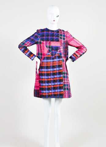 Multicolor Victoria Victoria Beckham Plaid Crinkle Shift Dress Frontview