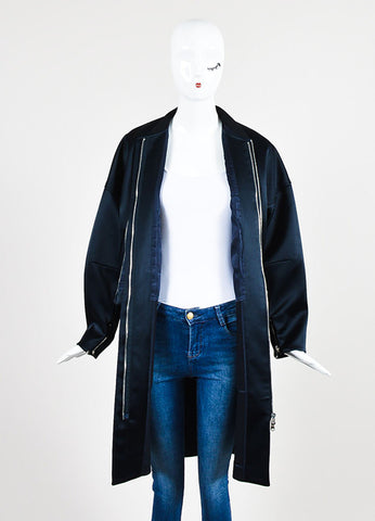 3.1 Phillip Navy Satin Double Layered Bomber Coat and Vest Frontview