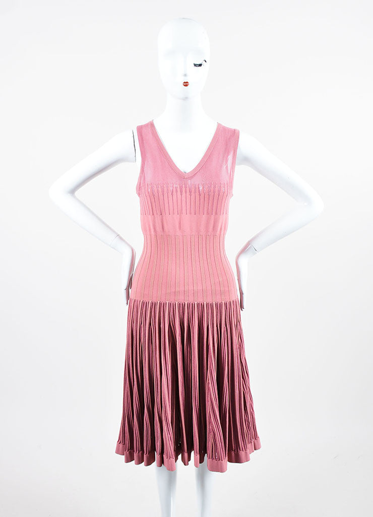 Rose Pink Alaia Sheer Panel Sleeveless Stretch Skater Dress Frontview