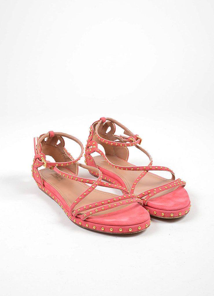 Pink Suede Gold Studded Strappy Gladiator Flat Alaia Sandals Frontview