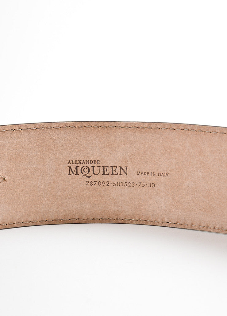 Alexander McQueen Olive Green Leather Stitched Wide Waist Belt Brand