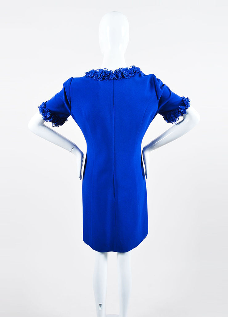 Royal Blue Andrew Gn Floral Embellished Short Sleeve Shift Dress Backview