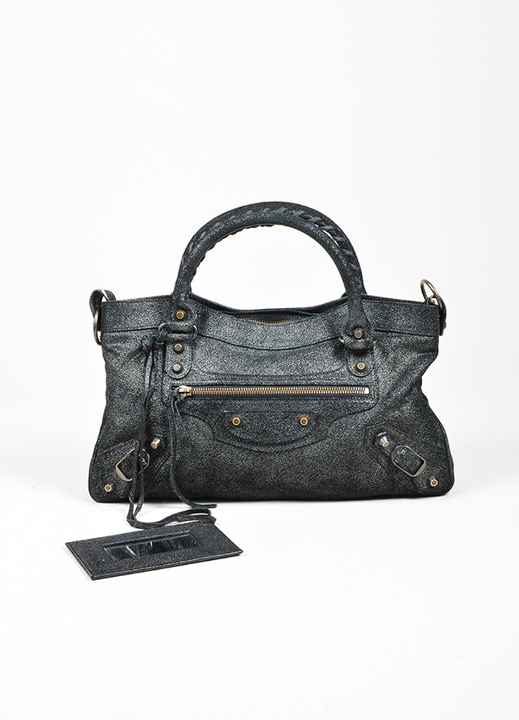 "Black Balenciaga  Leather Glitter Coated ""Classic First Satchel"" Bag Frontview"