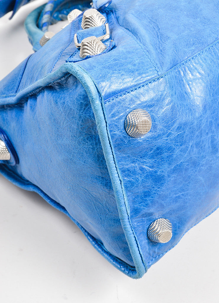 "Blue Balenciaga Leather ""Giant Part Time"" Satchel Bag Detail"