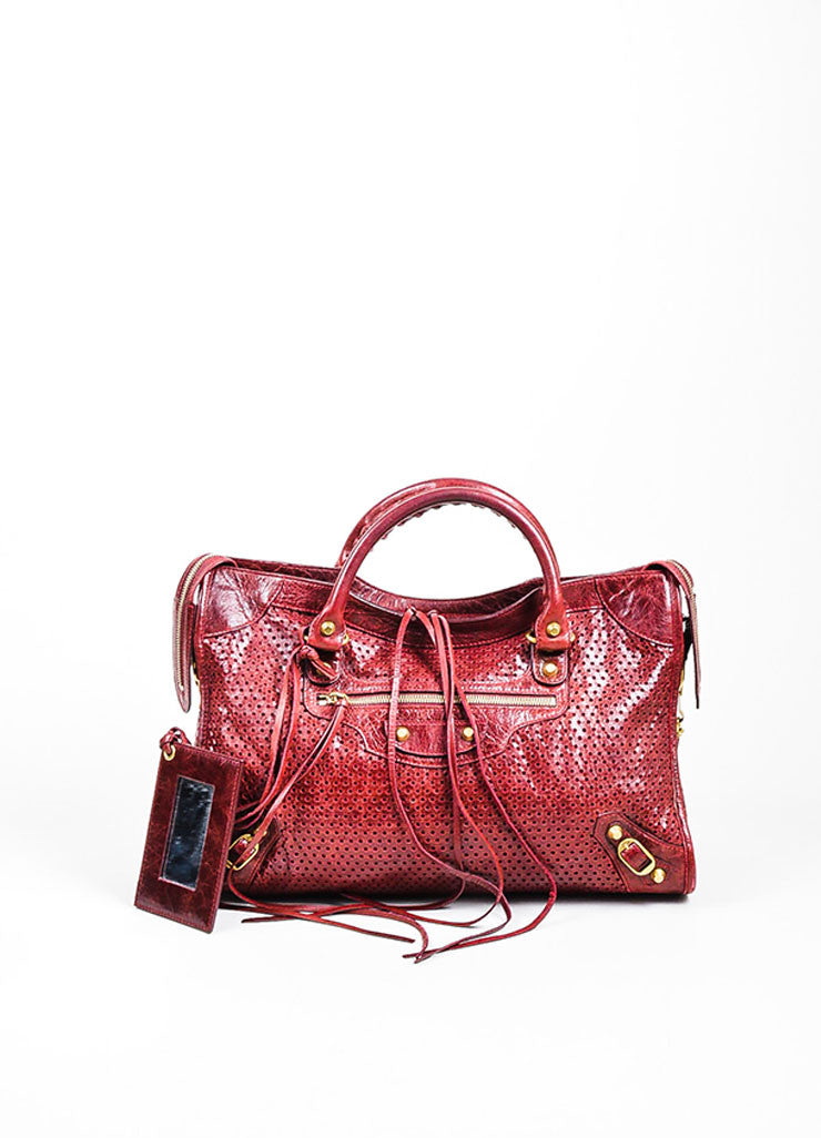 "Maroon Red Balenciaga Perforated Lambskin Leather ""Classic City"" Satchel Bag Frontview"