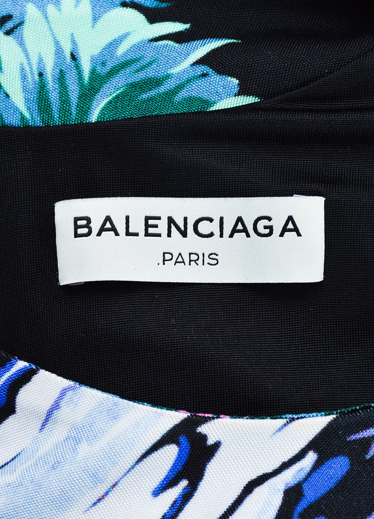 "Black and Green Balenciaga Jersey Knit ""Landscape Print"" Long Sleeve Top Brand"