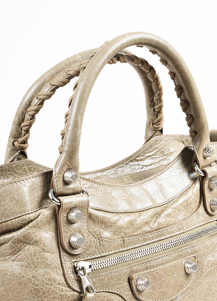 "Balenciaga Taupe Grey Leather Silver Toned Studded ""Giant 12 Town"" Bag Detail 2"